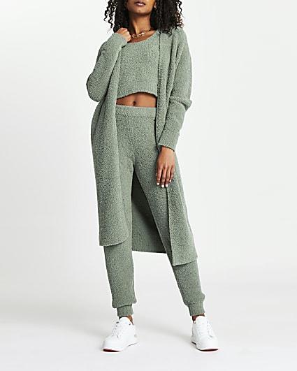 Green teddy longline cardigan