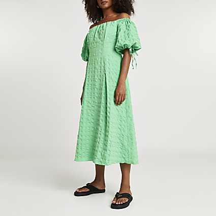 Green textured bardot midi dress