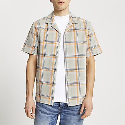 Green textured check slim fit revere shirt