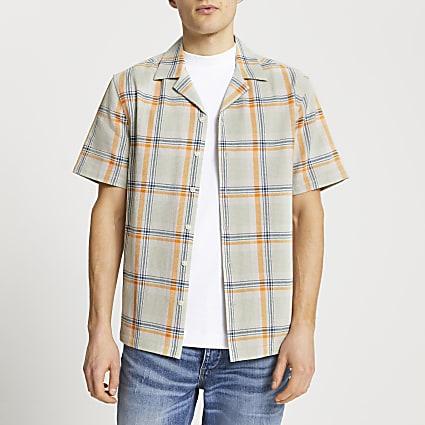 Green textured check slim fit shirt