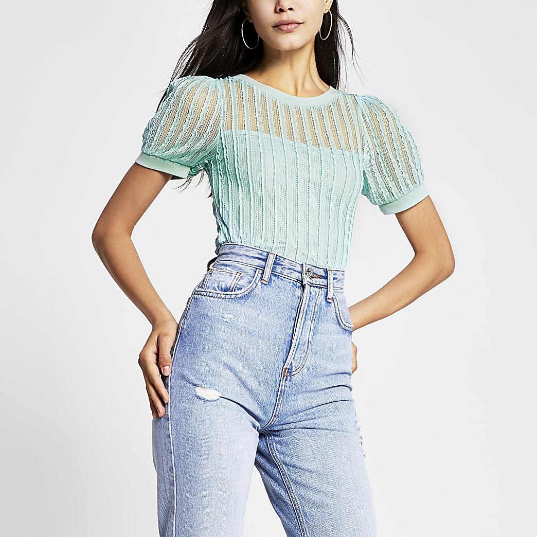 Green textured puff sleeve T-shirt