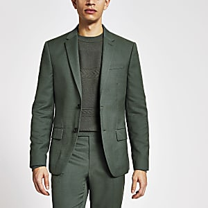 Green textured skinny fit suit jacket