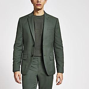 Grüne, strukturierte Skinny Fit Anzugjacke