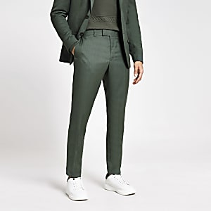 Grüne, strukturierte Skinny Fit Anzughose