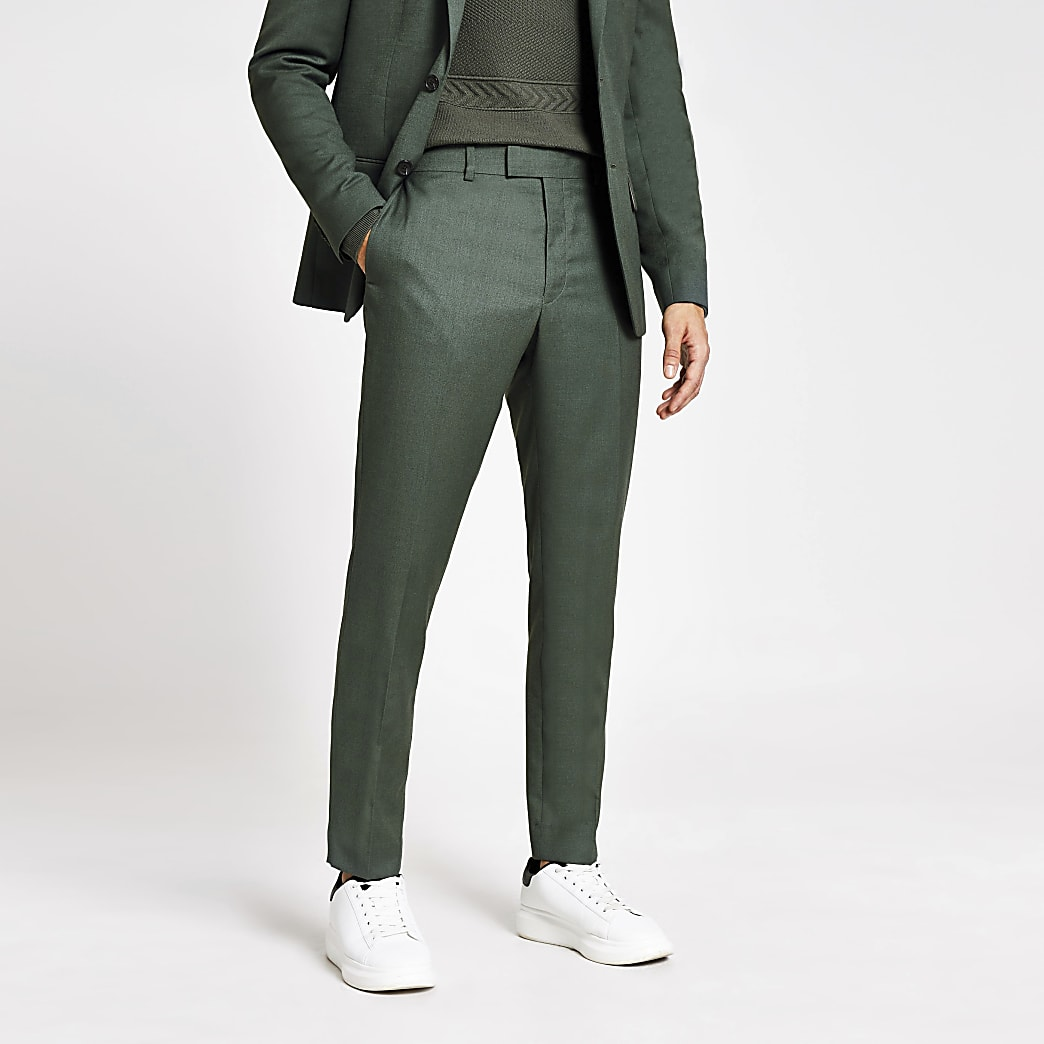 Green textured skinny suit trousers