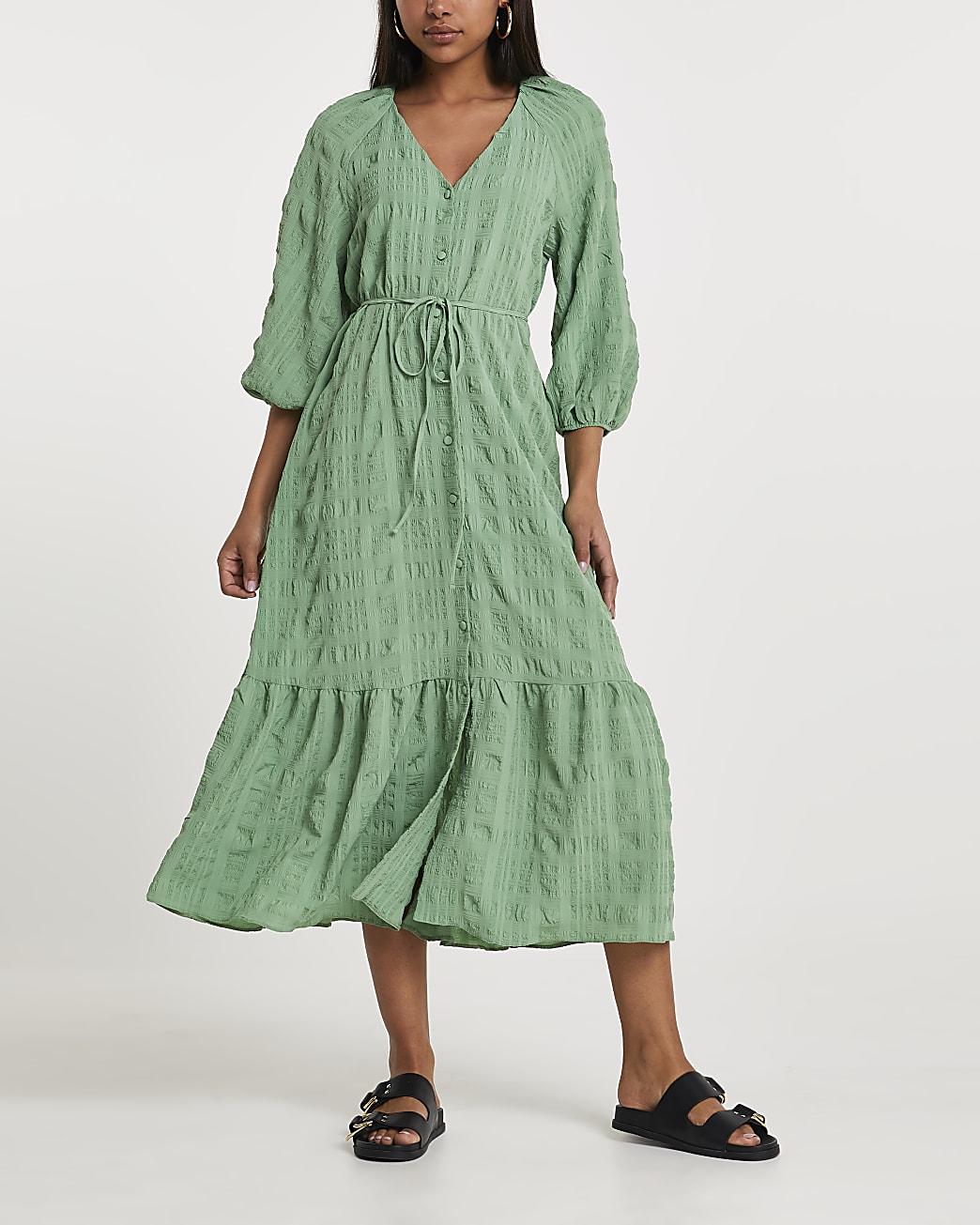 Green textured tie waist maxi dress