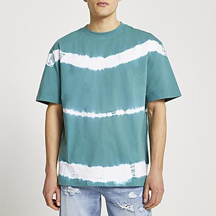 Green tie dye short sleeve t-shirt