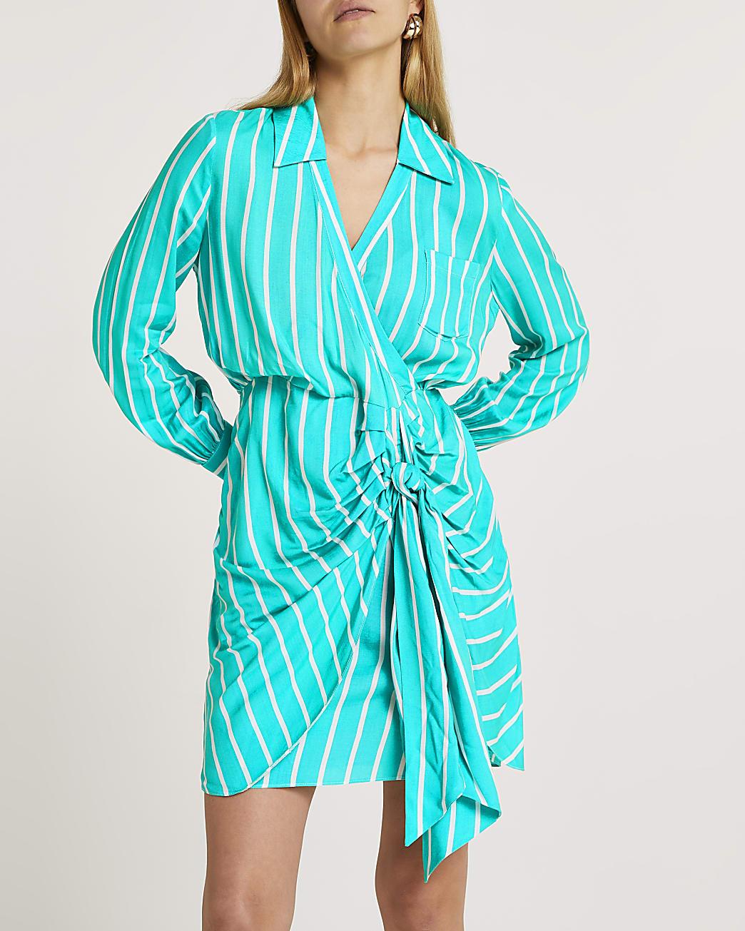 Green tie front stripe shirt dress