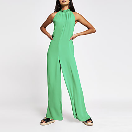 Green Tie Neck Jumpsuit