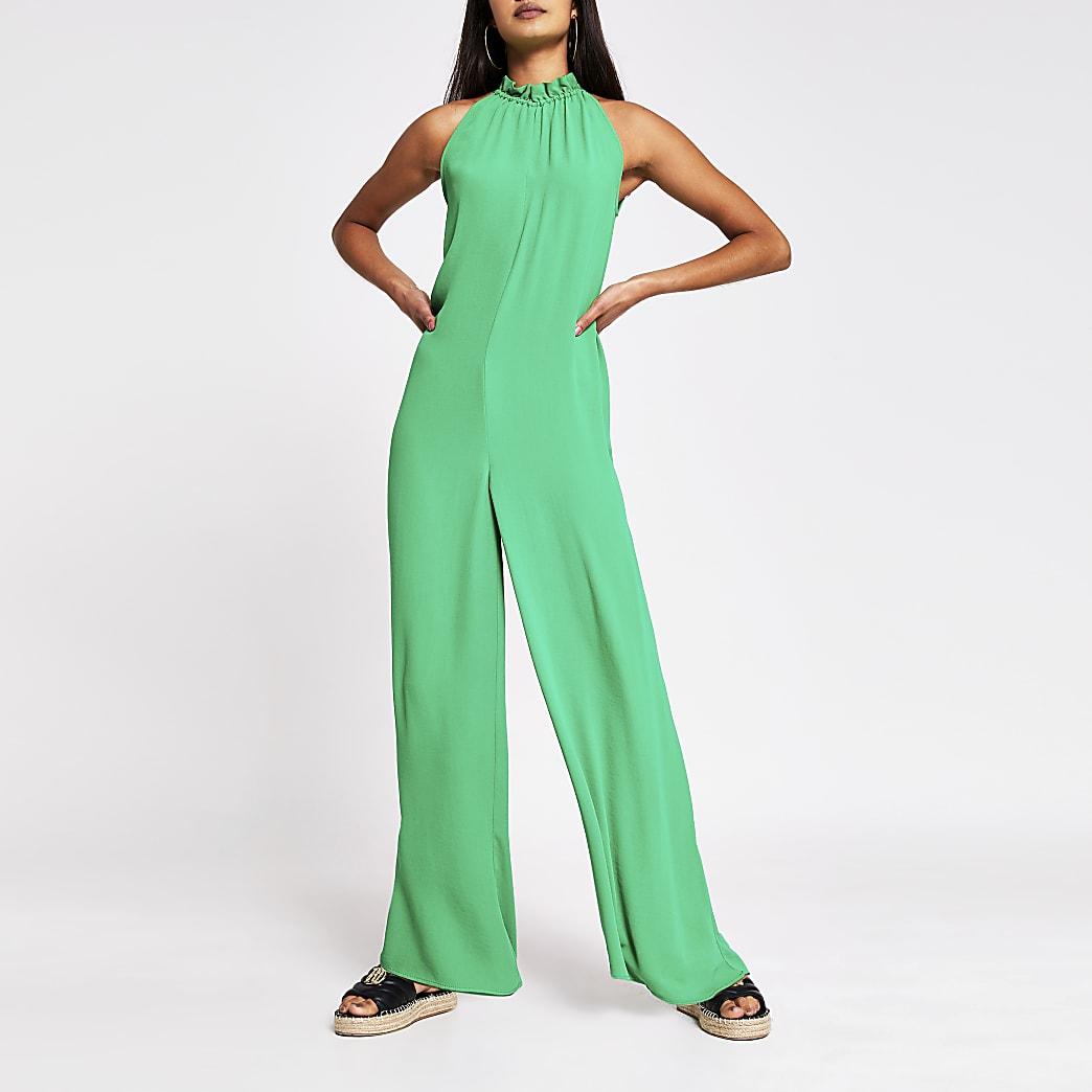 Green Tie Neck Jumpsuit
