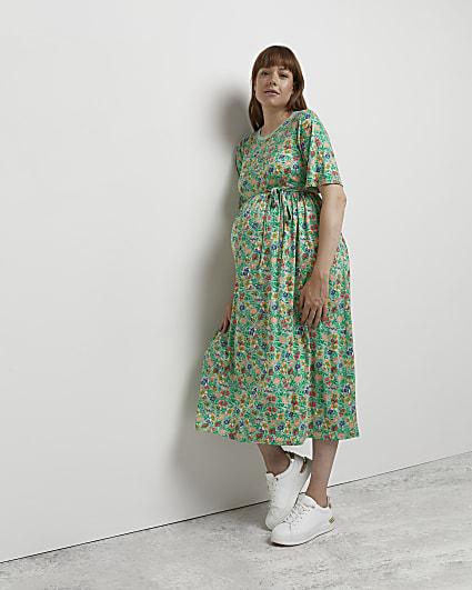 Green tie waist maternity dress