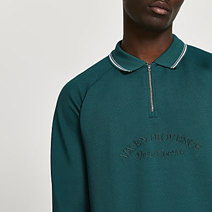 Green tropic long sleeve polo shirt