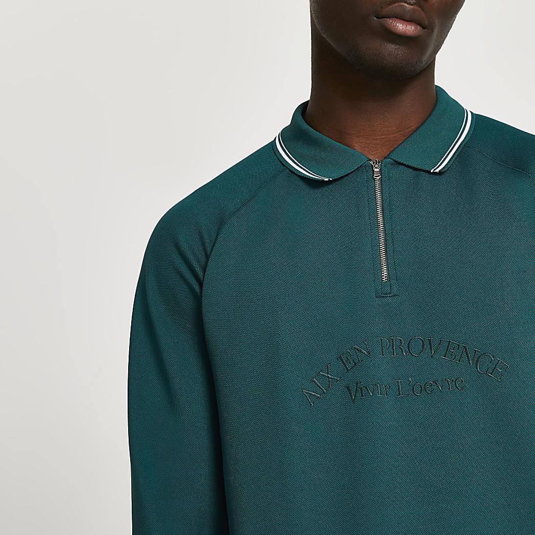 Green tropic long sleeve polo shirt