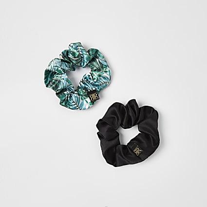 Green tropical print hair scrunchies 2 pack