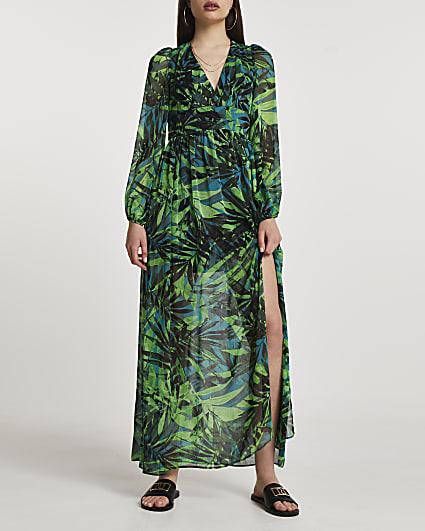 Green tropical print maxi dress