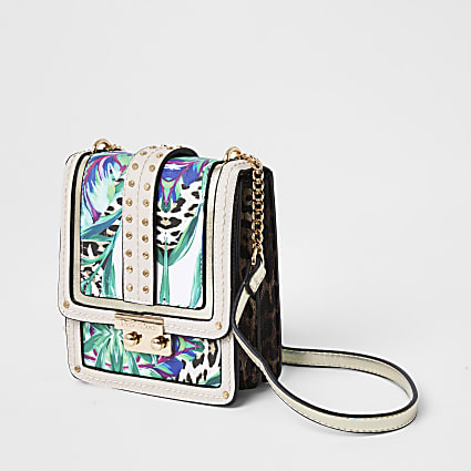 Green Tropical Print Vertical Cross Body Bag