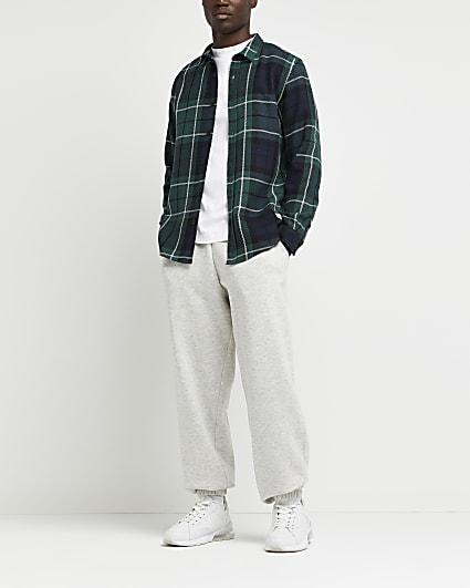 Green twill check regular fit shirt