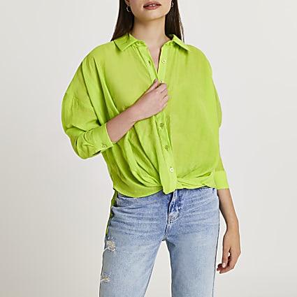 Green twist front shirt