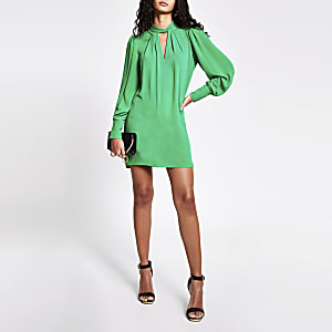 Green twisted cut out neck mini swing dress