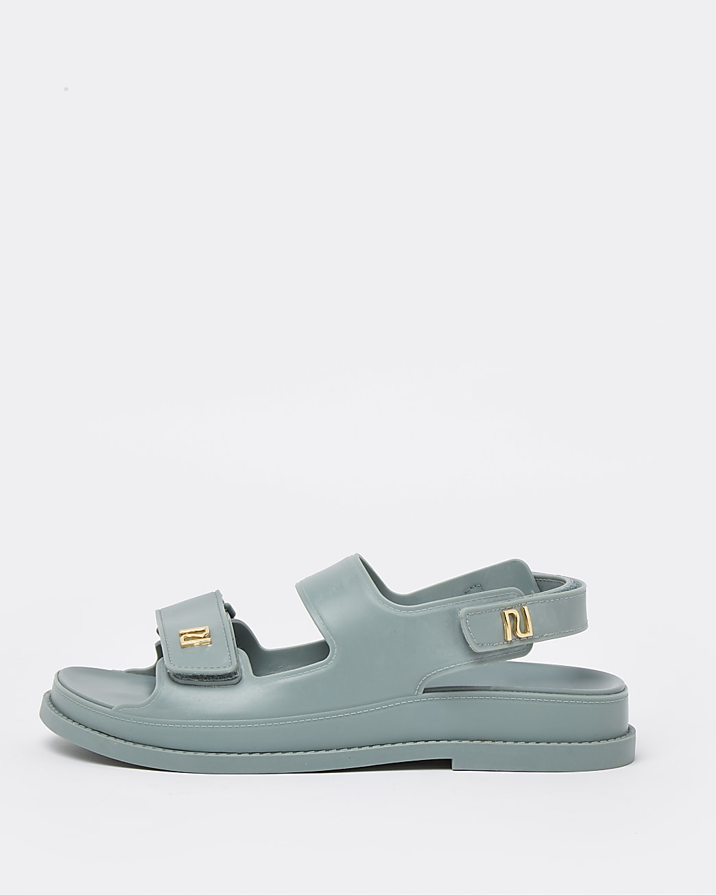 Green two strap jelly sandals