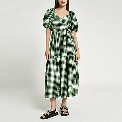 Green v neck belted puff sleeve midi dress