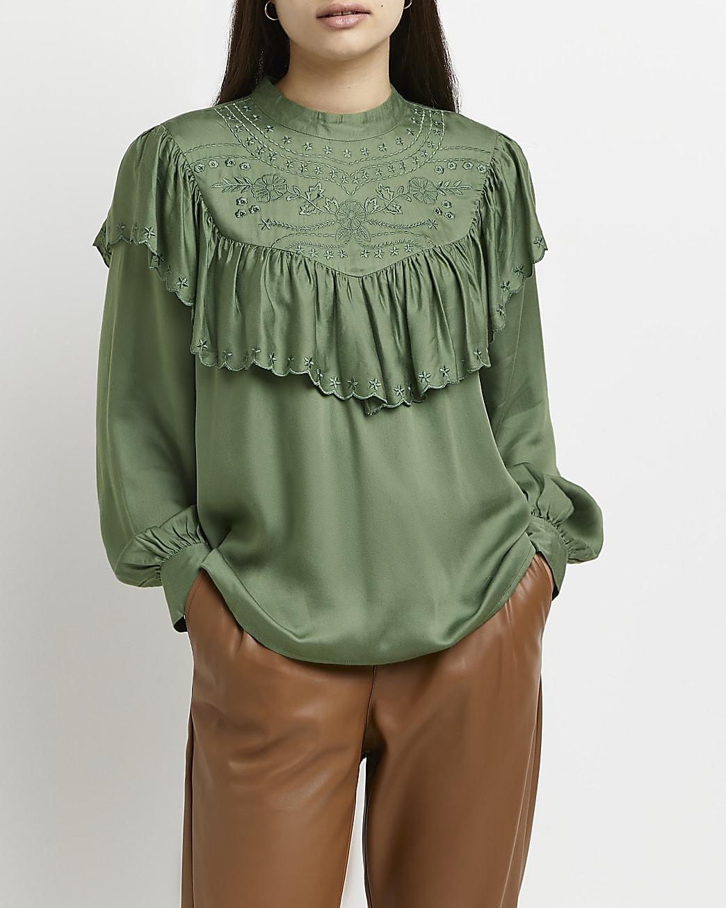 Green Victoriana ruffled blouse