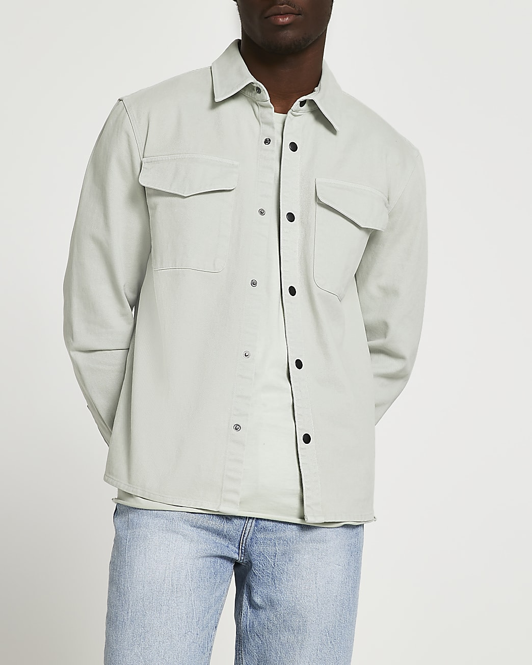 Green washed button shacket