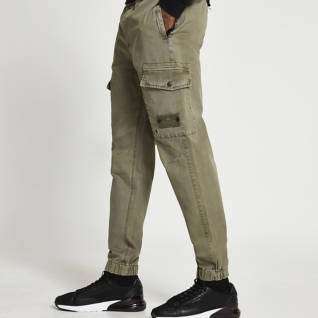 Green washed cargo trousers