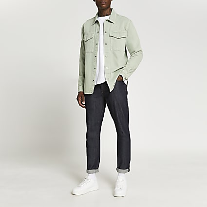 Green washed long sleeve shacket