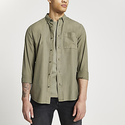 Green washed organic long sleeve shirt