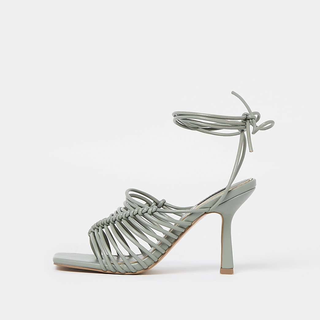 Green wide fit spaghetti strap sandal