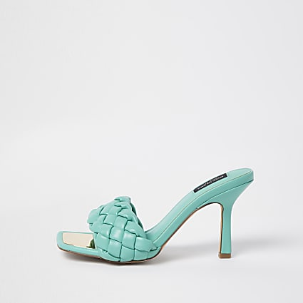 Green wide fit woven mule