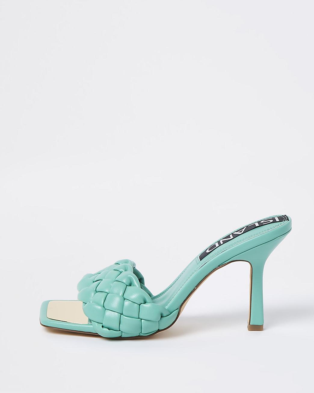Green woven heeled mule