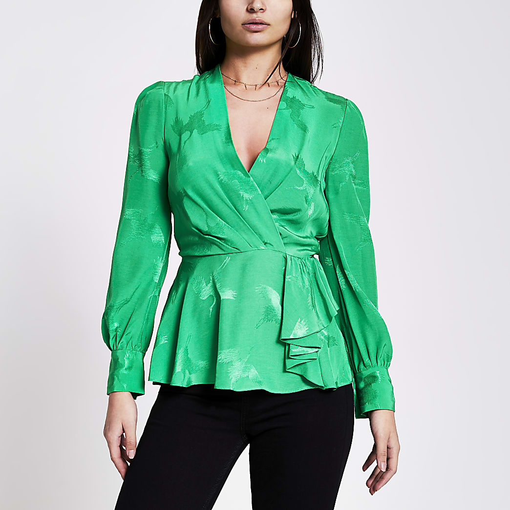 Green wrap long sleeve peplum top