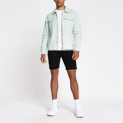 Green zip front overshirt