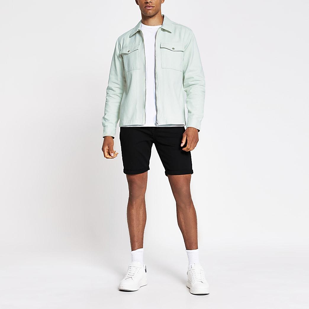 Green zip front overshirt
