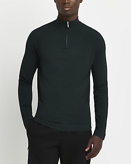 Green zip funnel neck slim fit jumper