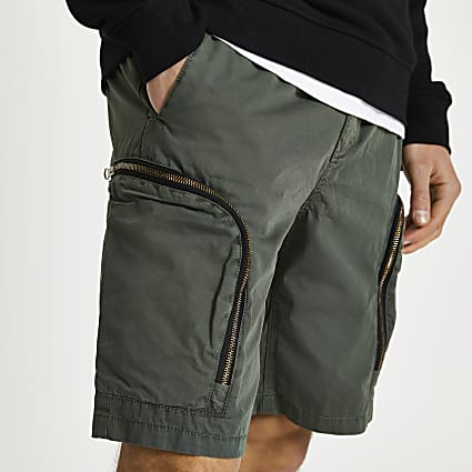 Green zip pocket cargo shorts