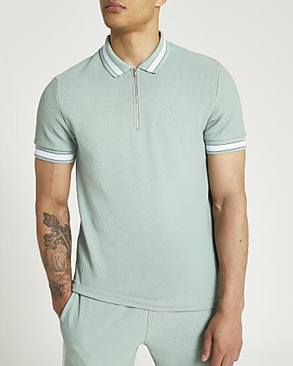 Green zip textured polo shirt