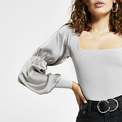 Grey - satin sleeve ribbed top