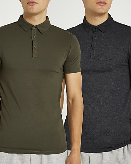 Grey & khaki muscle fit polo shirt 2 pack
