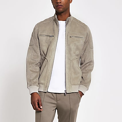 Grey  suedette long sleeve racer jacket