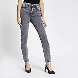 Brooke – Hoch geschnittene Slim Fit Jeans in grauer Acid-Waschung