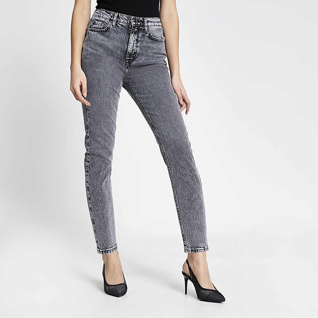 Grey acid wash Brooke high rise slim jeans
