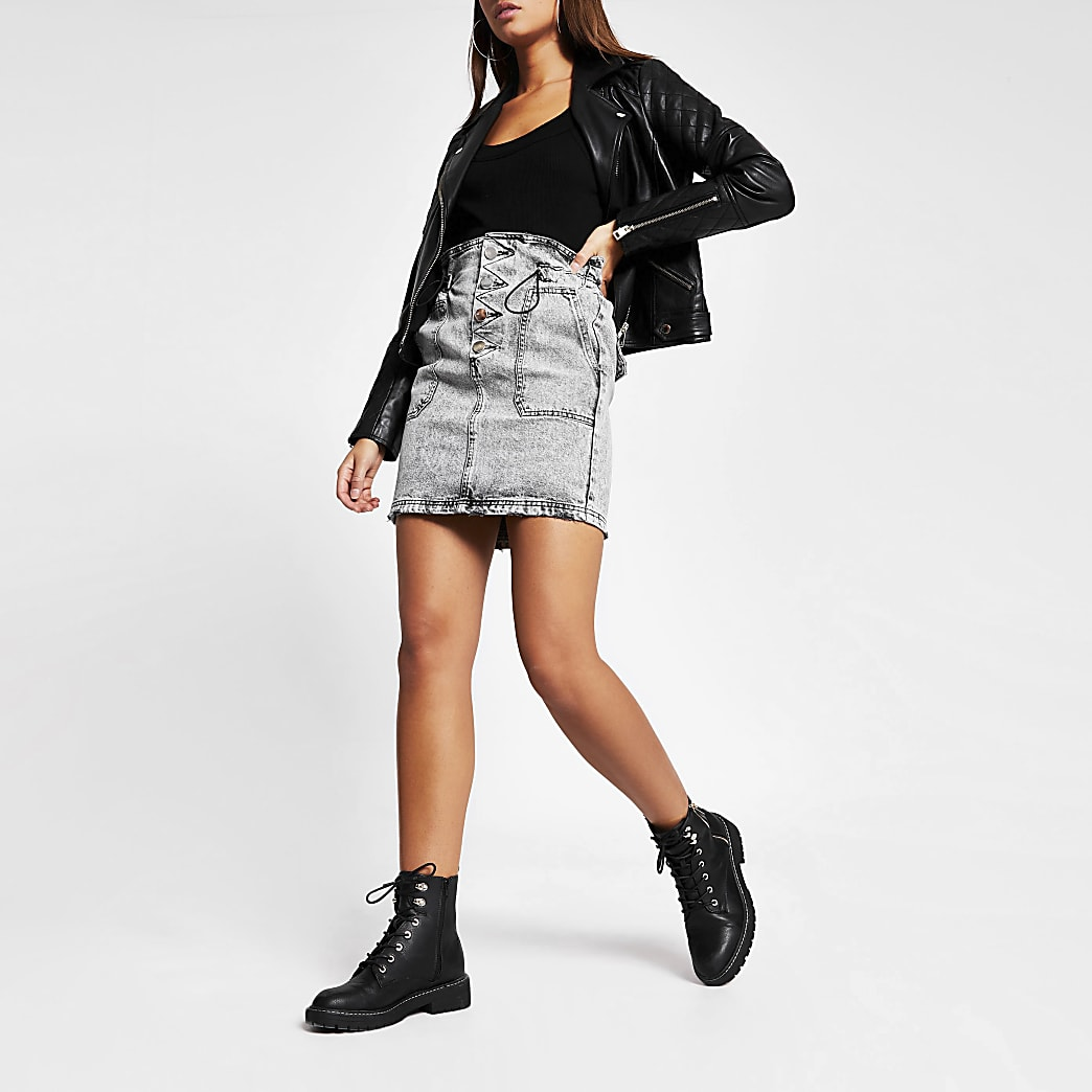 Grey acid wash drawstring mini denim skirt
