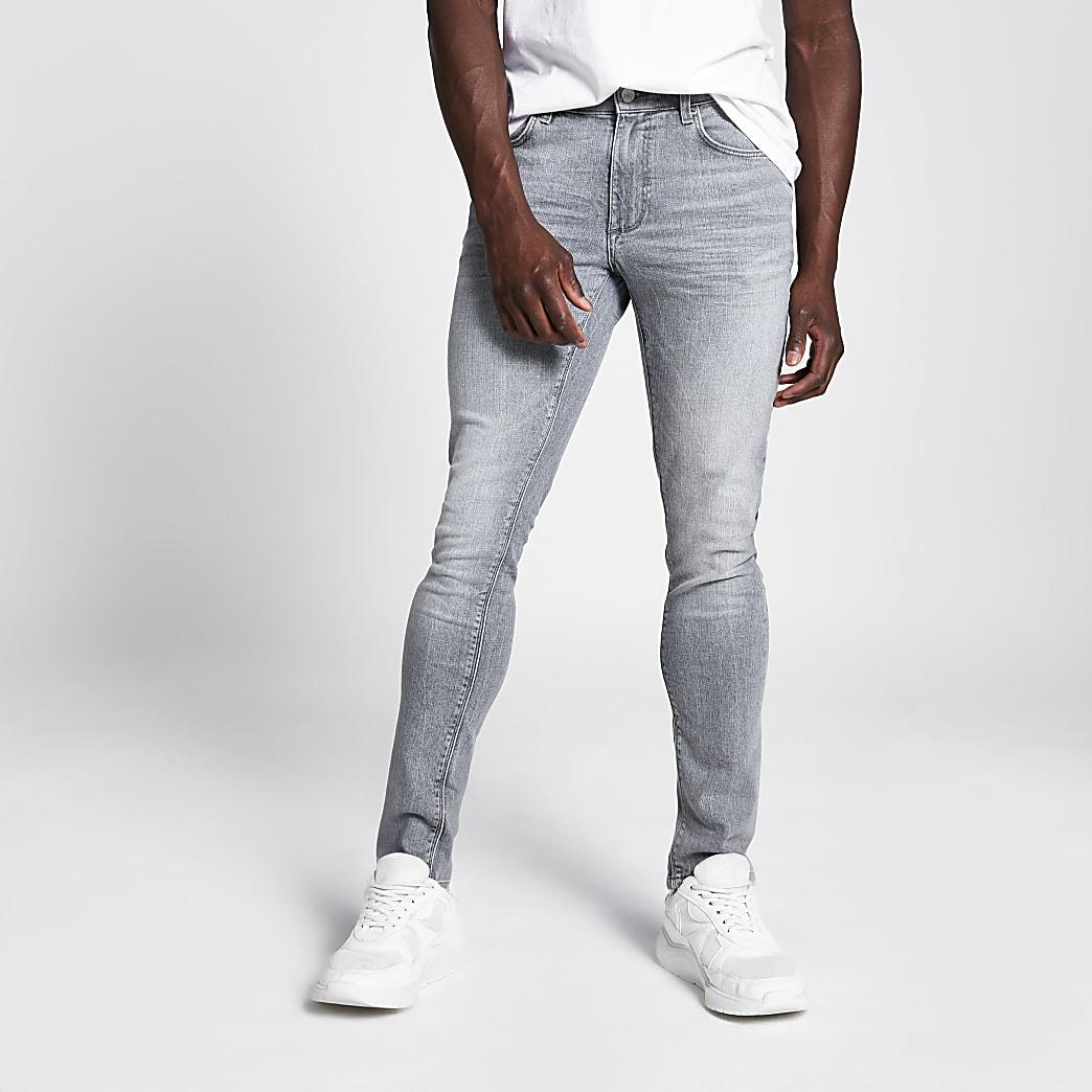 Sid - Grijze acid wash skinny jeans