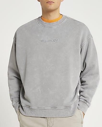 Grey acid washed oversized sweatshirt