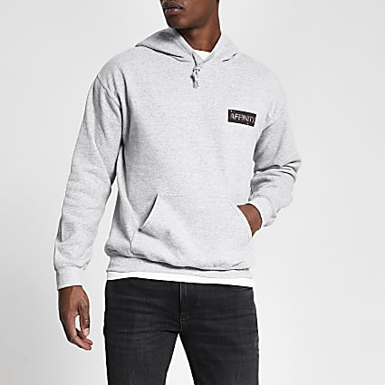 Grey 'Affinity' printed regular fit hoodie