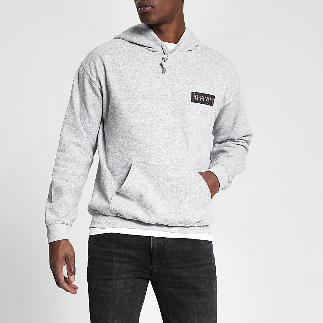 Grey 'Affinity' printed regular fit hoodie