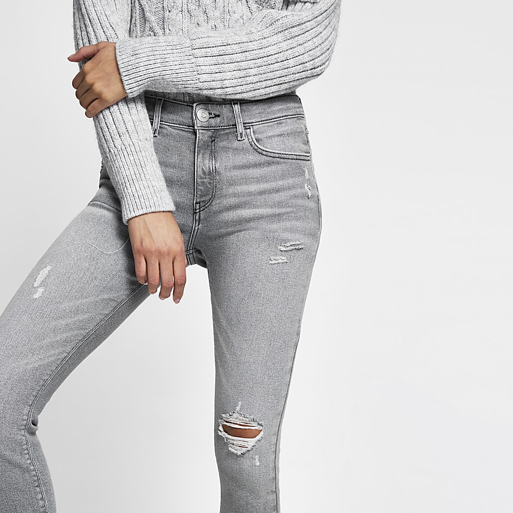 Grey Amelie mid rise rip detail skinny jeans